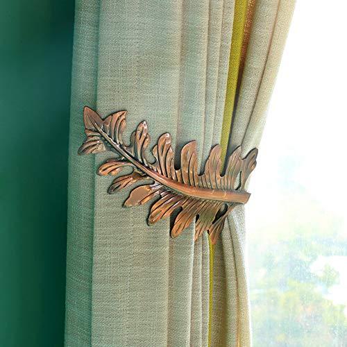 Raffhalter für Vorhänge, Metall, Blatt-Form, Krawatten-Rückseite, U-Form, Raffhalter, Raffhalter, Clips, Dekoration für Zuhause, Haken (bronzefarben)