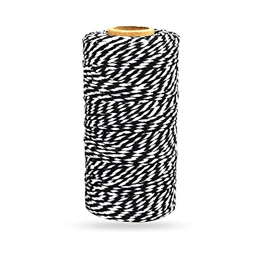 Bakers Twine Black and White, LaZimnInc Cotton Twine Packing String for Gardening, Decoration, Tying Cake and Pastry Boxes, Silverware, DIY Crafts & Gift Wrapping, Art and Crafts (2 mm/328Feet)
