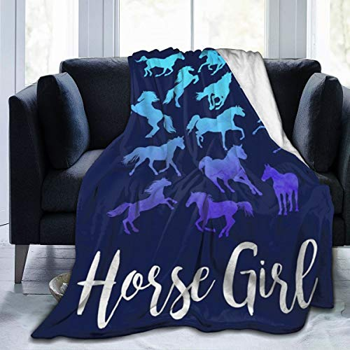 LIVE & LOVE Micro Fleece Blanket Throw Blanket Horse Riding Print Ultra-Soft Light Weight Cozy Warm Fluffy Plush Blanket Microfiber for Bed Couch Chair Living Room Fall Winter Spring