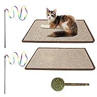 INPHER 2 Pack Cat Scratching Mat 60 * 40CM, Natural Sisal Mat Cat Scratcher Mat Floor Scratching Pad...