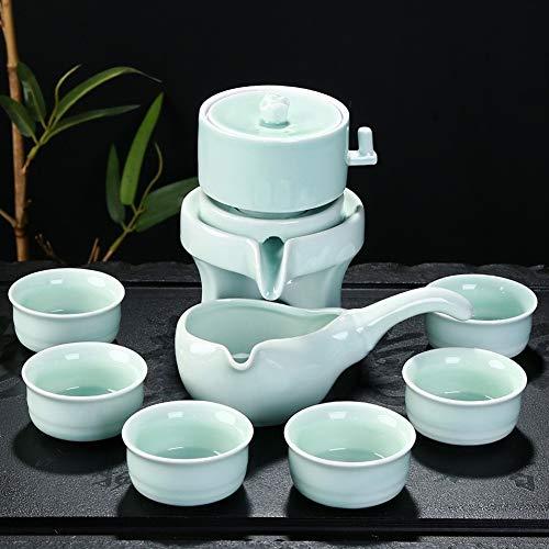 Tavolo da tè Imposta Teiera, Tea Set A Mano Cinese, Teiera della Porcellana, Ceramica Set da tè Semi-Automatica Pigra Mulino in Pietra retrò Acqua Anti-scottatura Rotante (Color : B)