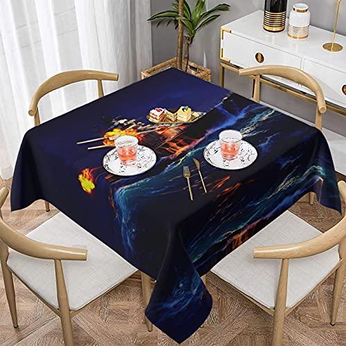 Mantel de poliéster a prueba de aceite, a prueba de agua, a prueba de arrugas, a prueba de manchas, apto para mesa de comedor y cocina, decoración rectangular de mesa se puede lavar, personalizable