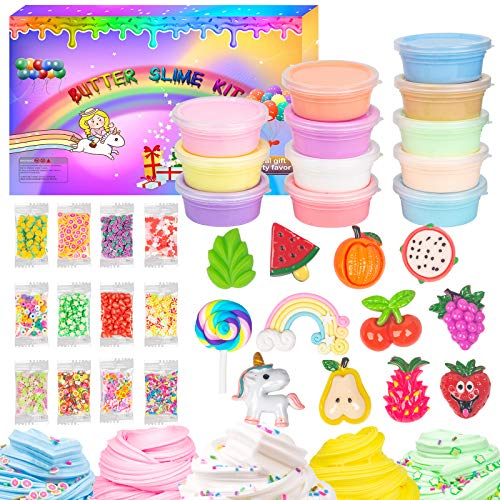 WUJYLY 12 Pack Butter Slime Kit for Girls Boys,12 Pack Colorful Rainbow Slime and So Cute 12 Slime Charms Sprinkles, Soft and Non-Stick,Nice Gift for Kids Birthday Valentine's Day Slime