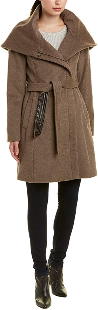 Cole Haan Women's Belted Asymmetrical Wool Coat : Clothing, Shoes & Jewelry
