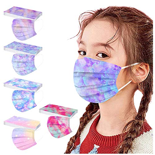 50 Pack Tie Dye Disposable Face_Mask for Girls Kids Tie Dye Gradient Paper Face_mask for Mouth Protection (Multicolor13)