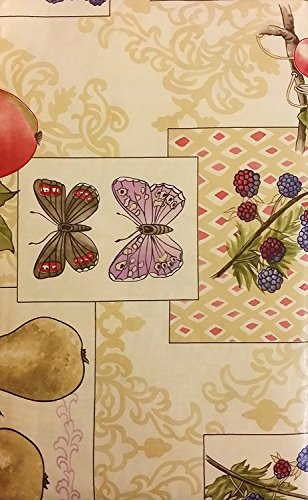 Elrene Flannel Backed Vinyl Tablecloths By Assorted Fruits & Butterflies - Assorted Sizes - Square, Oblong and Round (52 x 90 Oblong)
