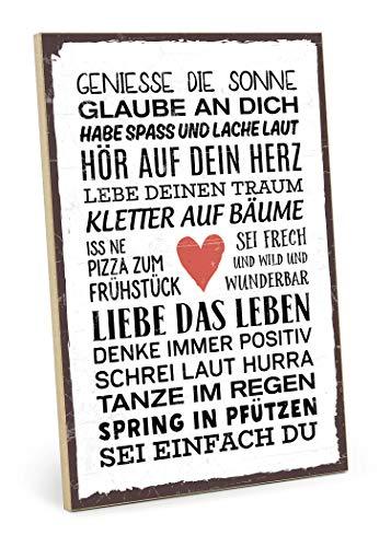 TypeStoff Holzschild mit Spruch – SEI EINFACH DU – im Vintage-Look mit Zitat als Geschenk und Dekoration zum Thema Freiheit und Unabhängigkeit (19,5 x 28,2 cm)