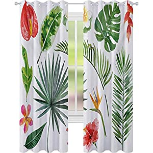 Thermal Insulated Blackout Curtains, Diverse Collection of Leaves and Flowers from Tropical Lands Heliconia Philodendron, Living Room Bedroom Window Drapes, Multicolor