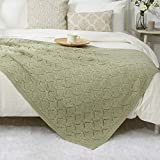Amélie Home Zigzag Lightweight Knitted Throw Blanket Soft Warm Chevron Decorative Blanket for Couch Sofa Bed Living Room (Sage Green, 50 x 60'')