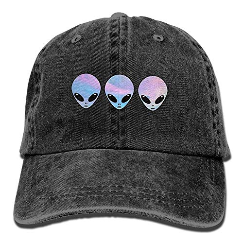 Nigmfgvnr 2018 Adult Fashion Cotton Denim Baseball Cap Psychedelic Three Holo Aliens Classic Dad Hat Adjustable Plain Cap