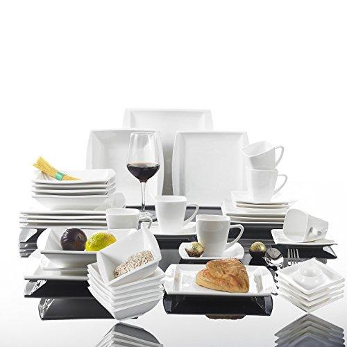 MALACASA, Serie Blance, 42 TLG. CremeWeiß Porzellan Geschirrset Kombiservice je 6 Schüsseln, 6 Eierbecher, 6 Kaffeetassen, 6 Untertassen, 6 Dessertteller, 6 Suppenteller und 6 Flachteller