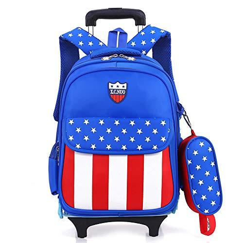 子供 2Way キャリーケース ランドセル 着脱式 旅行 トロリー 学生スーツケース ボーイズ ガールズ 小学生 撥水加工 バック (ブルー)
