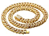 Halukakah Diamante Cadena Cubano para Mujer Niña,13.5MM Chapado en Oro Real de 18k Gargantilla Collar 55cm,Cz Completa Juego de Puntas de Corte de Diamante,con Caja