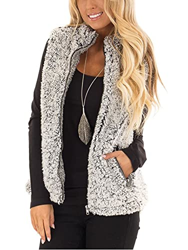 MEROKEETY Women s Casual Sherpa Fleece Lightweight Fall Warm Zipper Vest Outwear