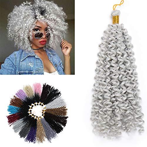 35cm-Crochet Hair Braids Extension Afro Treccine Kinky Curly Capelli Finti Ricci Intrecciati Trecce–Grigio Chiaro