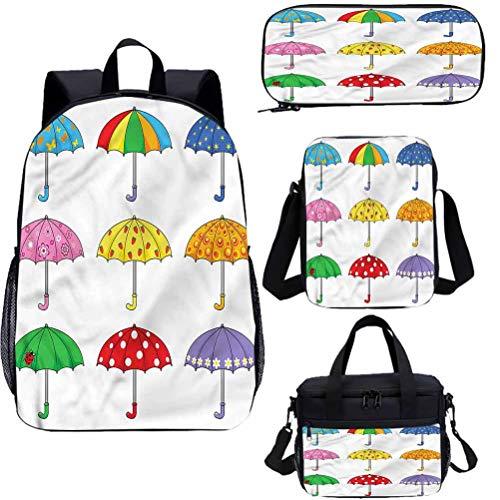 Juego de mochila para adolescentes de 17 pulgadas, diseño de paraguas con temática de arco iris para el trabajo, la escuela, los viajes, picnic
