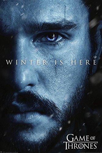 Game of Thrones Poster Winter is Here/Jon Snow [7e Saison] (61cm x 91,5cm) + 2 tringles Transparentes avec Suspension