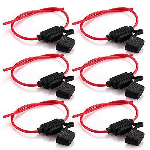 Rovtop 6 Pcs Portafusibles Fusibles equeños para Coche Impermeable con Cuerpo Completamente Encapsulado Portafusibles de Línea Tamaño MedianoP