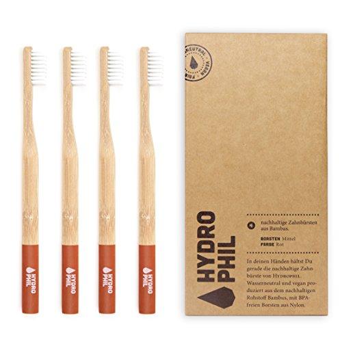 HYDROPHIL nachhaltige Zahnbürste aus Bambus rot 4er Pack mittelweich mittel weich