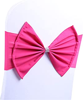 LORIE 10 pcs Fuchsia Wedding Chair Sashes Bow Spandex Chair Cover Bands Party Chair Ribbons for Baby Shower Banquet Christmas Thanksgiving Decorations (10, Fuchsia)