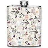 Motif floral avec cages à oiseaux mode Portable en acier inoxydable étanche 7OZ Pot Hip Flask Voyage Camping Flagon
