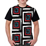 Men Classic Polyester Short Sleeve T-Shirts Front Print Tee Watercolor Hand Painted Squares