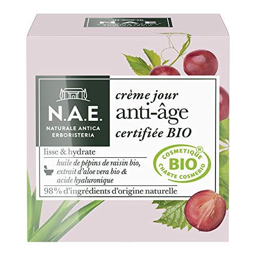 N.A.E. - Crème Jour Anti-Âge Visage - Certifiée Bio - Huile de Pépins de Raisin Bio, Extrait d'Aloe Vera Bio et Acide Hyaluronique - 98% d'ingrédients d'origine naturelle - Contenant de 50 ml