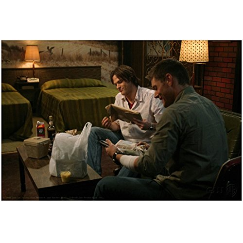 Supernatural Jared Padalecki as Sam Winchester Smiling with Jensen Ackles as Dean Winchester Sitting Together 8 x 10 Inch Photo