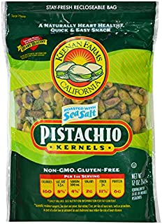 Keenan Farms Salted and Roasted Pistachio Kernals - 12 Oz Bag - No Shell Pistachios - Kosher - Resealable Pouch - Loaded with Nutrients and High in Antioxidants - A Healthy Snack