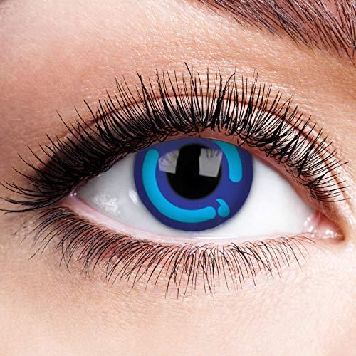 Farbige Kontaktlinsen ohne Stärke Blue Moon Princess Blau Motiv-Linsen Halloween Karneval Fasching Cosplay Anime Manga Blaue Augen Farbig Eye Blue Devil Eis Hexe Engel Kawaii