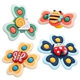 Vanmor Baby Suction Cup Spinning Top Toys,Spinner Toys for Babies,Suction Baby Toys,Stress Relief Frisbee, Sensory Toys&Best Gift for Toddlers 1-3(4 Pcs)