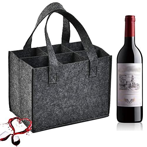 Mingjing 1 PCS Bottle-Bag, Tragetasche mit Trennwände, Weinflasche Geschenk Tasche, Flaschentasche Flaschenträger Bierträger Filztasche für 6 Flaschen perfekt für Party Reise Party (gray2)