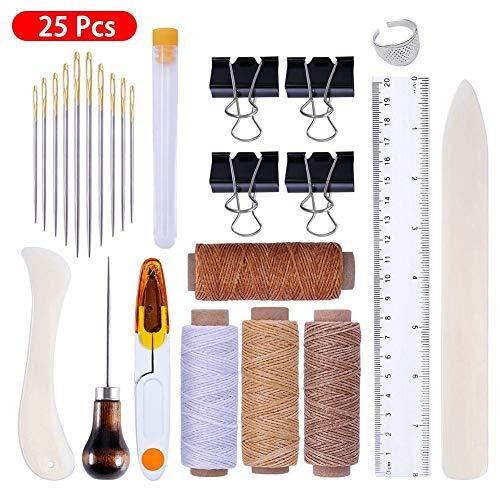 BonTime Bookbinding Tools Kits, 25 PCS DIY Crafts Kit Premium-Nähwerkzeuge für handgefertigte Lederbücher und Papier DIY Bookblind
