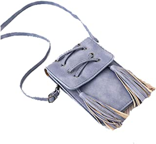 XIAO Cell phone purse, can be used as crossbody bag gift, national style weave decoration,Light Blue,Brown Happy day (Color : Light Blue)