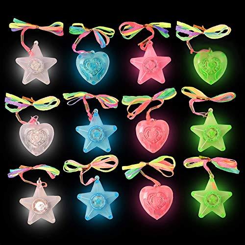 12 LED Kunststoff Blinklichter Halsketten Anhänger Herz unc Sterneformen - Verschiedene Farben - ideales Innenspielzeug für Kinder - Perfekt für Party Dekoration,Weihnachten & Halloween Geschenke