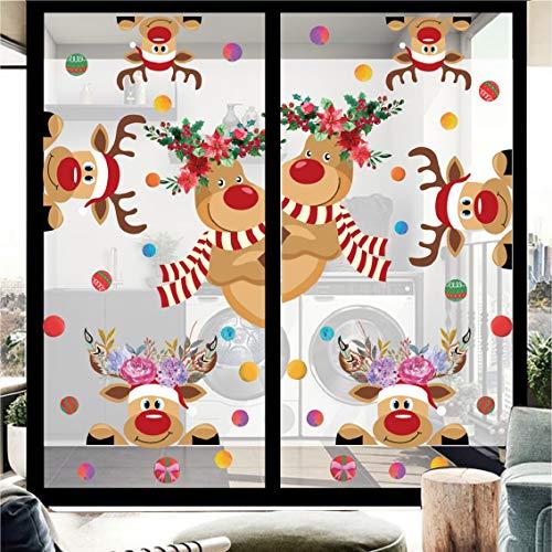 UMIPUBO 6 Pec Adesivi Natale, Corona Carina Renna Babbo Natale,3D Adesivi Elettricità Statica,DIY Stickeri Decorazioni Feste,Casa Negozio Finestre Murali Vetro