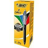 BIC 4-Farb-Druckkugelschreiber Grip Pro – 4 in 1 Kugelschreiber – Rot, Blau, Schwarz und Grün...