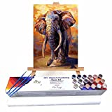 Qegyxk Elefante Animal Pintura por Números DIY Pintar por Numeros para Adultos Niños Pintura al óleo Kit con Pinceles y Pinturas 30x45cm Sin Marco