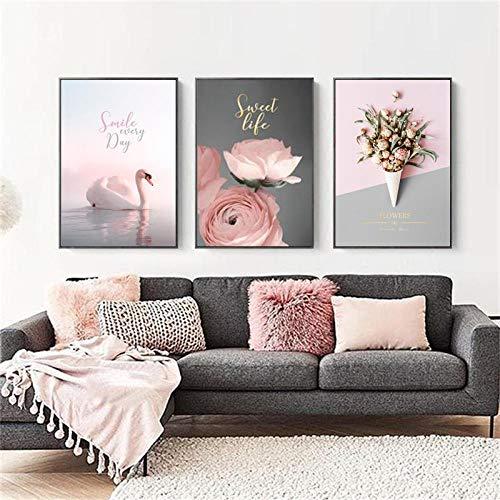 YB Zwanensee Rose bloem roos bloem landschap poster en fotobehang canvas schilderij zwart-wit afbeelding moderne decoratie zonder lijst -50x70cm-3P