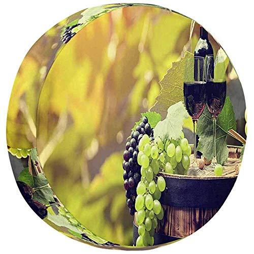 Olive Croft Weinflasche und Glas auf altem Fass wasserdichte, staubdichte Universal-Reserverad-Reifenabdeckung 14-17inch