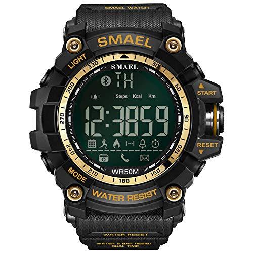 YOLANDE Deporte smartwatch Digital, 50 Metros / 164.04ft Natación Deporte Impermeable a Prueba de Golpes Relojes Estilo Ejército Verde Blue-Tooth Connect Hombres Reloj Digital Masculino,Gold