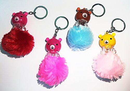 takestop® Set van 12 snoepjes sleutelhangers teddybeer LED PON beer hart sleutelhouder primo verjaardag communie