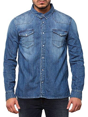Hilfiger Denim Gratton - Chemise casual - Uni - Manches longues - Homme - Bleu (Montreal Mid) - Large