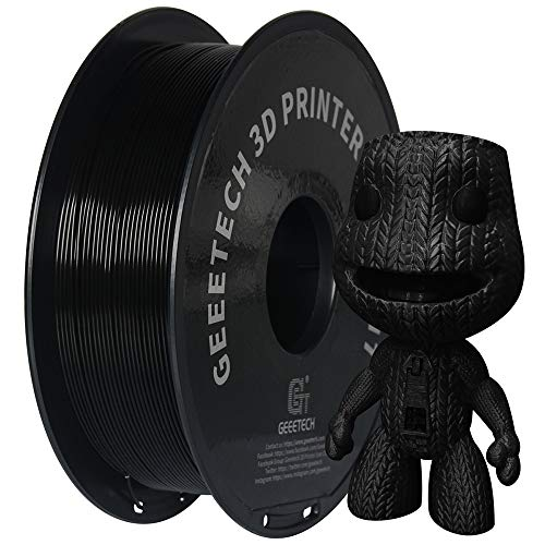 GEEETECH Filamento PLA 1.75mm Nuevo Negro, filamento de impresora 3D PLA 1kg Carrete