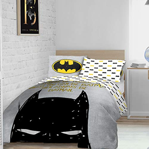 Warner Brother Always Be Batman - Juego de Funda de edredón Reversible con Funda de Almohada (135 x 200 cm), diseño de Caballero Oscuro