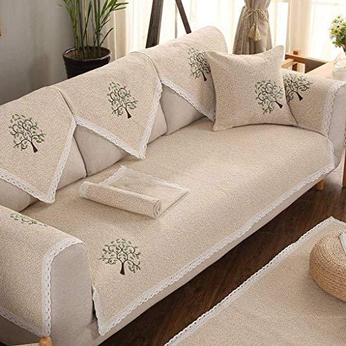 Jonist Funda de sofá de algodón y Lino, Funda de sofá de Varios tamaños, Sencilla y Elegante, sin Costuras para Silla o sofá-C-90X240cm