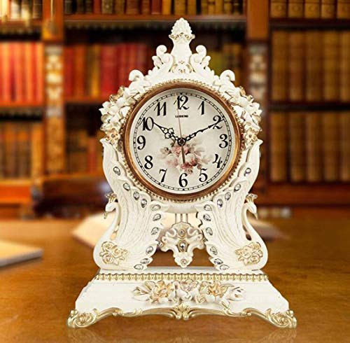 Knoijijuo Escritorio Y Reloj De La Chimenea Estantería, Forma del Pavo Real Creativo del Diseño De La Decoración del Reloj, Usando Dormitorio, Escritorio, Cocina, Oficina, Manto,Blanco