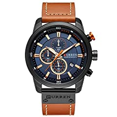 Quartz Movement - High quality Japan quartz movement, provide precise time keeping. Material - High hardness mineral glass scratch resistant, stainless steel case back and adjustable leather strap with pin buckle provide comfortable wearing experienc...