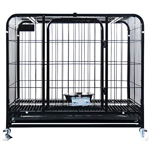 GAOJINXIURZ Jaulas para Perros Jaula Perro pequeño Perro, for Mascotas un Peso de 20 kg Menor Que, Techo corredizo de diseño, fácil de Mover con Ruedas (Color : Black, Size : 76.5 * 51.5 * 70CM)