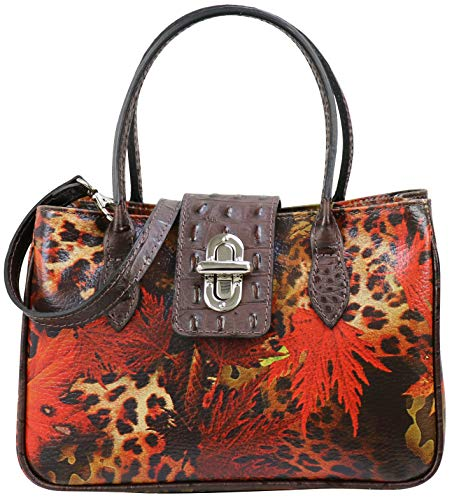 SH Leder Damen Handtasche kleine Tasche Tragetasche Henkeltasche mit Leo und Folie Print Krokoprägung aus Rindleder 25x16cm Ida G381 (Dunkelbraun)